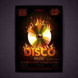 Disco poster fire background. Burning Disck or record. Disco poster. fire Hard rock background. Burning Disck or record Royalty Free Stock Photos
