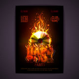 Disco poster. fire background. Burning Disck or record Stock Image