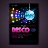 Disco poster neon background Stock Photo
