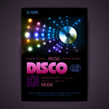 Disco poster neon background Stock Images