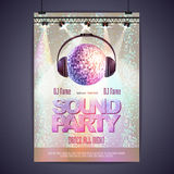 Disco poster sound party. Disco background. Disco poster sound party vector illustration
