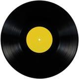 Disco preto do álbum do lp do registro de vinil, disco isolado do registro de jogo longo, espaço amarelo vazio da cópia da etique fotos de stock