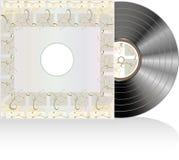 Disco preto do vinil com tampa do sumário do grunge Imagens de Stock Royalty Free
