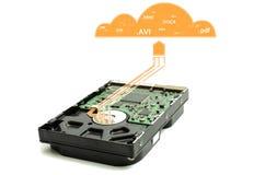 Disco rígido, e armazenamento da nuvem para seus arquivos Fotografia de Stock