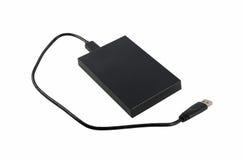 Disco rígido externo preto Fotos de Stock