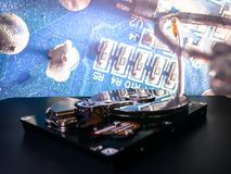 Disco rígido no fundo Levantamento de dados, arquivística de dados importantes Foto de Stock