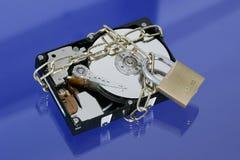 Disco rigido con il lucchetto e la catena Fotografia Stock Libera da Diritti