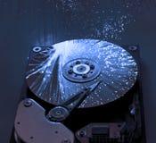 Disco rigido con la priorità bassa ottica della fibra Fotografie Stock