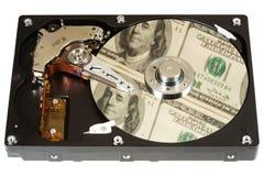 Disco rigido, dollari, uno Fotografie Stock