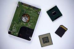 Disco rigido a 2,5 pollici di sata del computer portatile con due unità di elaborazione a del computer portatile del CPU Immagini Stock Libere da Diritti