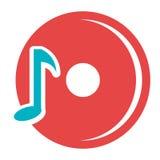 disco rojo de DJ con la nota azul de la música, gráfico Fotografía de archivo
