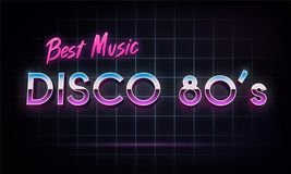 Disco 80`s best music - banner. Retro 1980`s neon grid in space. Vector illustration Stock Photos