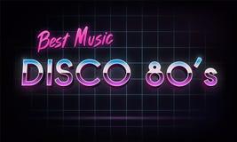 Disco 80`s best music - banner. Retro 1980`s neon grid in space. Vector illustration Stock Illustration