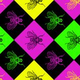Disco 80s fly vector seamless pattern. For fabric, wrapping, craft, cards, branding, textile stock illustration
