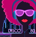 Disco 80s. Girl with Headphones. Party and dance, dj and club, disco party, disco background, disco lights,  music and retro sound audio, poster vintage Stock Photo