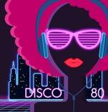 Disco 80s. Girl with Headphones Stock Photo