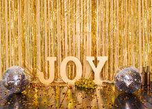 Disco scene gold inscription joy Stock Photo