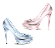 Disco shoes for women classic highheeled white background. pink and blue shimmering shoes vector illustration