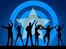 Disco Silhouette Indicates Dance Celebration And Persons Stock Image