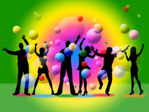 Disco Silhouette Indicates Togetherness Friends And Together Stock Image