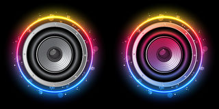 Disco Speaker Rainbow Circle Stock Image