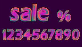 Disco-stellten rosa glühende Verkaufs-Neonzahlen Rabatt-Prozentvektorillustration ein Lizenzfreies Stockbild