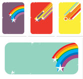 Disco-style backgrounds. Disco-style retro backgrounds with stars, circles and rainbows. Vector illustration Stock Image