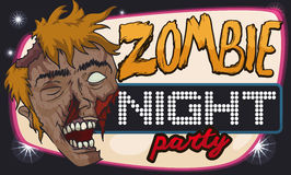 Disco Style Banner for Zombie Party, Vector Illustration. Halloween disco banner for zombie party with a smiling undead face vector illustration