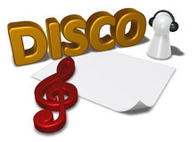 Disco tag, blank white paper sheet and pawn with headphones Stock Photos
