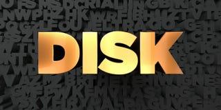 Disco - texto del oro en fondo negro - imagen común libre rendida 3D de los derechos Imagenes de archivo