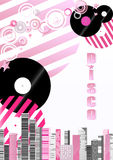 Disco theme illustration. Black and pink striped disks on the background of the city. vertical. Orientation Vector Illustration