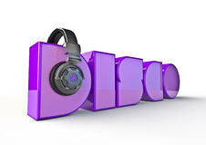 Disco title. 3D render of word disco with headphones Stock Images