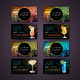 Disco triangle geometric background. Set of Cocktail party card Stock Image