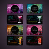 Disco triangle geometric background. Set of Cocktail party card Royalty Free Stock Photography