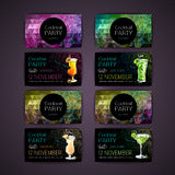 Disco triangle geometric background. Set of Cocktail party card Stock Photos