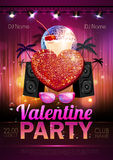 Disco Valentine party poster Royalty Free Stock Images