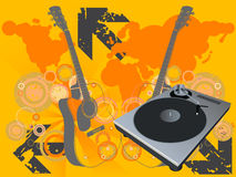Disco Vector. Retro vector with a dj mix turntable and a grunge starburst background with guitar and a world map. Concept: Party and entertainment, world music Stock Image