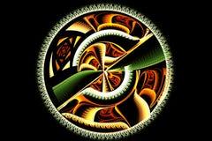 Disco verde y amarillo del fractal abstracto con el ornamento Fotos de archivo libres de regalías