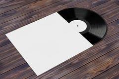 Disco viejo del disco de vinilo en caso del papel en blanco con el espacio libre para Yo Fotografía de archivo