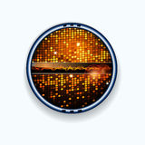 Disco wall border and soundwaves Stock Photo