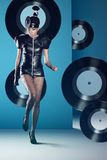 Disco woman dancing with vinyl Royalty Free Stock Images