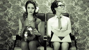 Disco woman filmed twice sexy club dancer stock video footage
