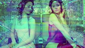 Disco woman filmed twice sexy club dancer stock video