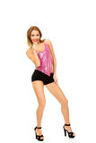 Disco woman in party clothes pointing on you. Royalty Free Stock Photography