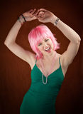 Disco Woman with Pink Hair Royalty Free Stock Image