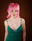 Disco Woman with Pink Hair Royalty Free Stock Images