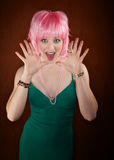 Disco Woman with Pink Hair Royalty Free Stock Photography