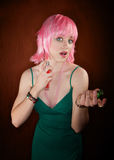 Disco Woman with Pink Hair applying Perfume Stock Images