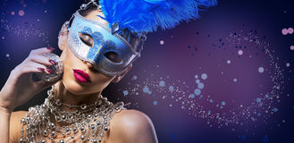 Disco woman wearing silver accessories on black backgound Royalty Free Stock Image