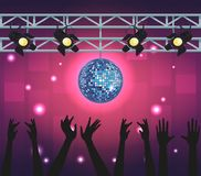 Disco and people. Disco womens singing and dancing at stage royalty free illustration